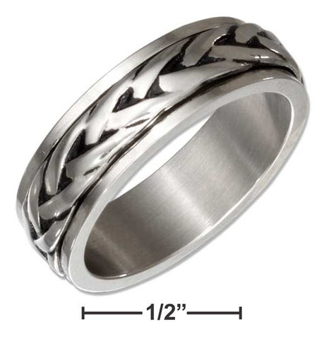 Stainless Steel Braided Spinner Band Ring | Jewelry Store