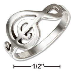 Sterling Silver Musical G-Clef Ring | Jewelry Store