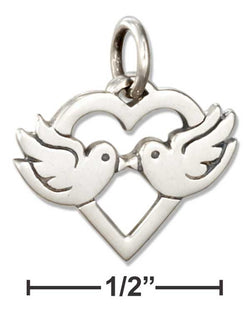 Sterling Silver Heart With Lovebirds Charm | Jewelry Store