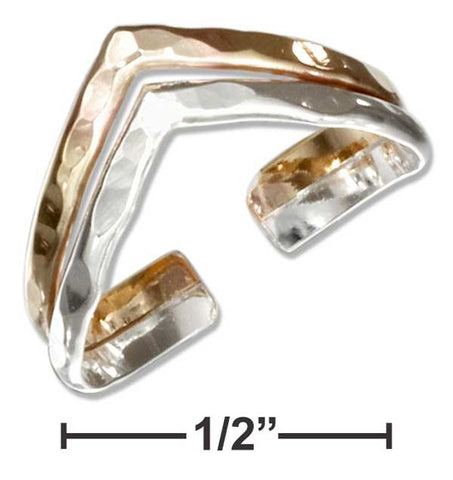Sterling Silver And 12 Karat Gold Filled Hammered Double V Band Toe Ring | Jewelry Store