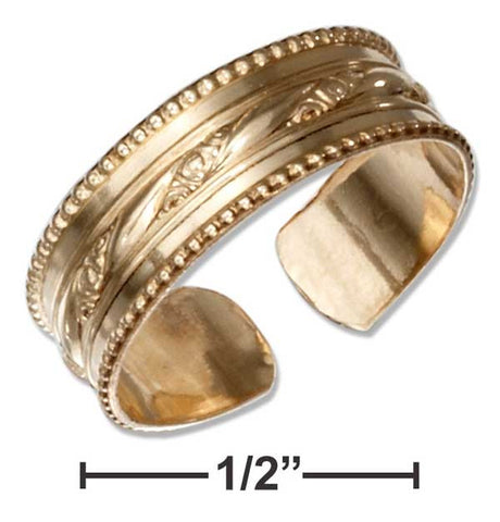 12 Karat Gold Filled Toe Ring With Floral Stripe And Beaded Edges | Jewelry Store