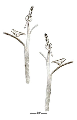 Sterling Silver Hammered Tree With Bird Earrings | Jewelry Store