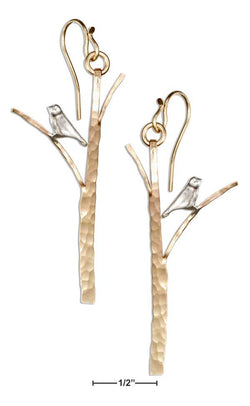Sterling Silver And 12 Karat Gold Filled Hammered Tree With Bird Earrings | Jewelry Store