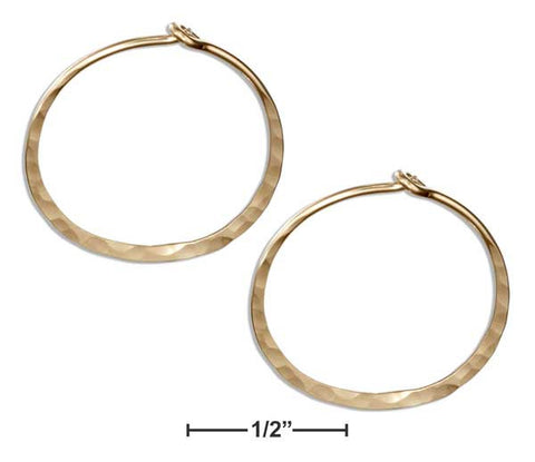 12 Karat Gold Filled 19mm Flat Bottom Hammered Hoop Earrings | Jewelry Store