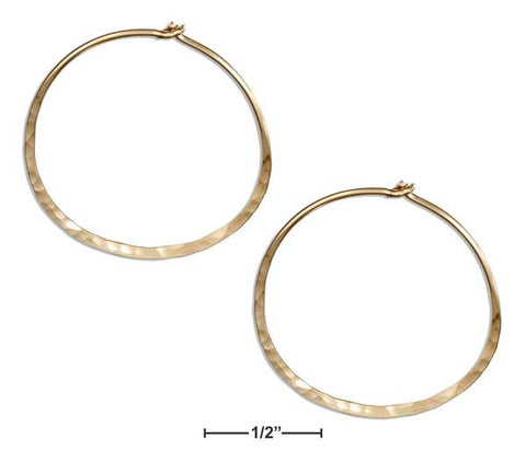 12 Karat Gold Filled 25mm Flat Bottom Hammered Hoop Earrings | Jewelry Store