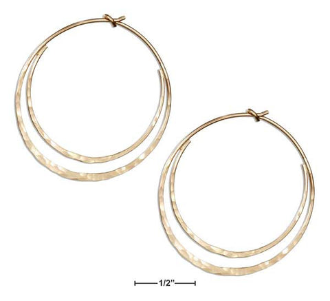 12 Karat Gold Filled Hammered Flat Bottom Double Hoop Earrings | Jewelry Store