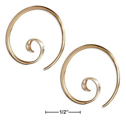 12 Karat Gold Filled 24mm Curly Spiral Threader Wire Hoop Earrings | Jewelry Store