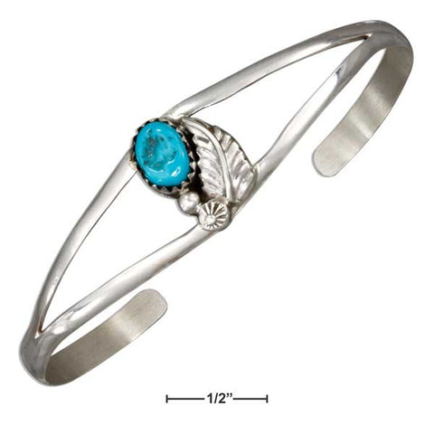 Sterling Silver Leaf And Stabilized Turquoise Stone Open Wire Cuff Bracelet | Jewelry Store