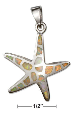 Sterling Silver Synthetic White Opal Starfish Pendant | Jewelry Store