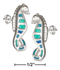 Sterling Silver Synthetic Blue Opal Seahorse Earrings | Jewelry Store