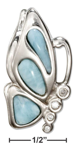 Sterling Silver Cubic Zirconia And Larimar Butterfly Pendant | Jewelry Store