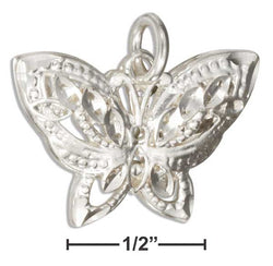 Sterling Silver Small Diamond Cut Filigree Butterfly Charm | Jewelry Store