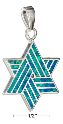 Sterling Silver Synthetic Blue Opal Star Of David Pendant | Jewelry Store