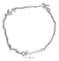 "Sterling Silver 9""-10"" Adjustable Two Strand Anchor Anklet 
