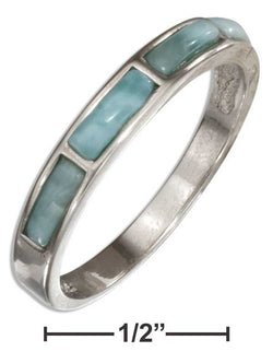 Sterling Silver Larimar Bricks Band Ring | Jewelry Store