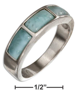 Sterling Silver Triple Brick Larimar Band Ring | Jewelry Store