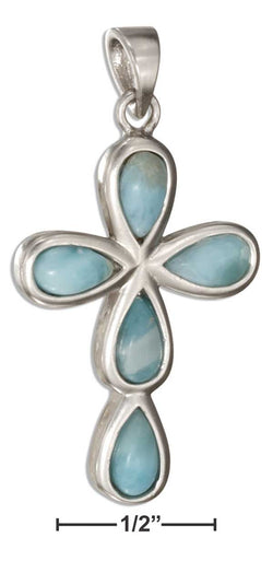Sterling Silver Five Stone Teardrop Larimar Cross Pendant | Jewelry Store