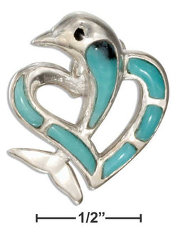 Sterling Silver Simulated Turquoise Heart With Dolphin Pendant | Jewelry Store