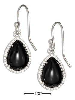 Sterling Silver Teardrop Simulated Onyx Earrings With Micro Pave Cubic Zirconia Halo | Jewelry Store