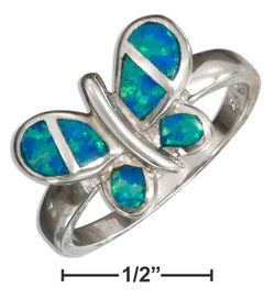 Sterling Silver Synthetic Blue Opal Butterfly Ring | Jewelry Store