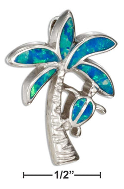 Sterling Silver Synthetic Blue Opal Palm Tree Pendant With Turtle | Jewelry Store