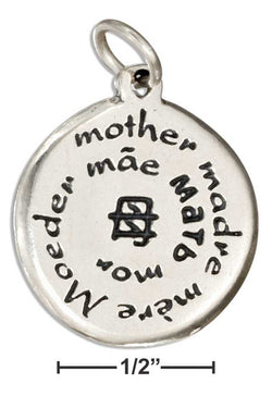 "Sterling Silver Two Sided Multiple Language ""Mother"" Charm 