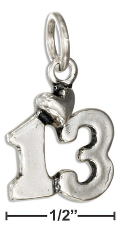 "Sterling Silver Number ""13"" Bar Mitzvah Charm With Heart 