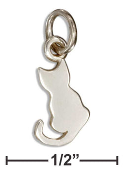 Sterling Silver Mini Silhouette Sitting Cat Charm | Jewelry Store