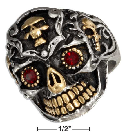 Stainless Steel Sugar Skull Ring With Gold Color Accents And Cubic Zirconia Eyes | Jewelry Store