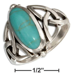 Sterling Silver Oval Simulated Turquoise Ring With Celtic Trinity Knots | Jewelry Store