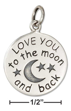 "Sterling Silver ""Love You To The Moon And Back"" Message Charm 