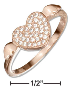 Sterling Silver Rose Colored Micro Pave Cubic Zirconia Heart With Wings Ring | Jewelry Store