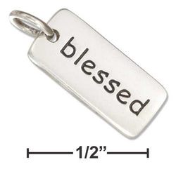 "Sterling Silver Two Sided "" Blessed"" Message Tag Charm 