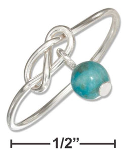 Sterling Silver Wire Infinity Double Love Knot Ring With Blue Riverstone Bead | Jewelry Store
