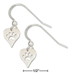 Sterling Silver Cutout Dog Paw Print Heart Earrings | Jewelry Store