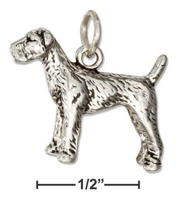 Sterling Silver Three Dimensional Airedale Dog Charm | Jewelry Store