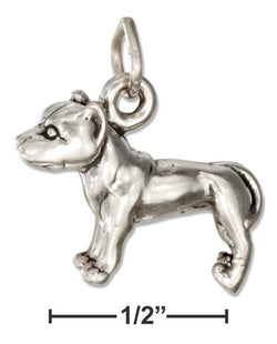 Sterling Silver Three Dimensional American Staffordshire Terrier Pit Bull Dog Charm | Jewelry Store