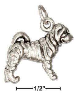 Sterling Silver Three Dimensional Sharpei Dog Charm | Jewelry Store