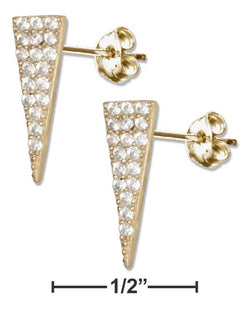 Sterling Silver Gold Colored Triangle With Micro Pave Cubic Zirconia Earrings | Jewelry Store