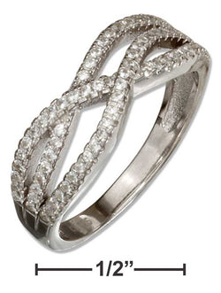 Sterling Silver Triple Micro Pave Cubic Zirconia Wave Ring | Jewelry Store