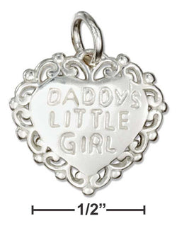 "Sterling Silver ""Daddy'S Little Girl"" Message Heart Charm 