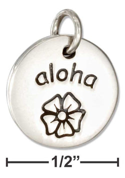 "Sterling Silver Round ""Aloha"" Message Charm With Flower 
