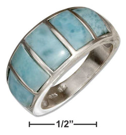 Sterling Silver Tapered Bars Larimar Band Ring | Jewelry Store