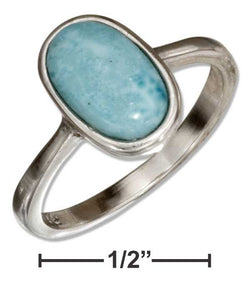 Sterling Silver Solitaire Oval Larimar Ring | Jewelry Store