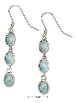 Sterling Silver Triple Oval Link Larimar Earrings | Jewelry Store