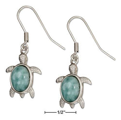 Sterling Silver Larimar Turtle Earrings | Jewelry Store