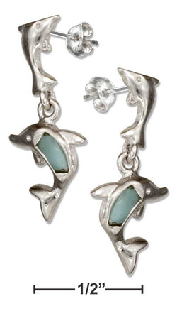 Sterling Silver Playful Larimar Dolphin Dangle Earrings | Jewelry Store