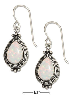 Sterling Silver Teardrop Synthetic White Opal Earrings With Southwest Pattern Frame | Jewelry Store