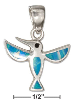 Sterling Silver Synthetic Blue Opal Hummingbird Pendant | Jewelry Store