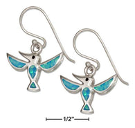 Sterling Silver Synthetic Blue Opal Hummingbird Earrings | Jewelry Store